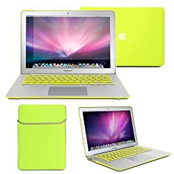 GMYLE(R) Hard Case Frosted for MacBook Air 13 inch - Neon Yellow 4 in 1 Rubberized (Rubber Coated) Hard Case Cover - Soft Sleeve Bag and Silicon Keyboard Protector - Clear LCD Screen Protector