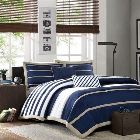 Mizone Ashton Comforter And Decorative Pillows Set - Navy - Full/Queen front-316750