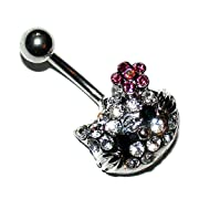 Pierced & Modified Body Jewellery Navel Bars Crystal Kitty Face Belly Bar