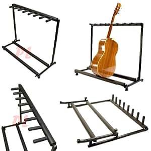 7 guitar stand multiple seven instrument display rack folding padded organizer. Black Bedroom Furniture Sets. Home Design Ideas