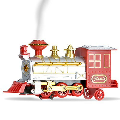 Classic Glow Smoke Blowing Locomotive Train Car Toys Bump and Go Action Toy LED Flashing Lights & Sounds for Kids Boys and Girls (Battery Operated) (Steam Toy Train compare prices)