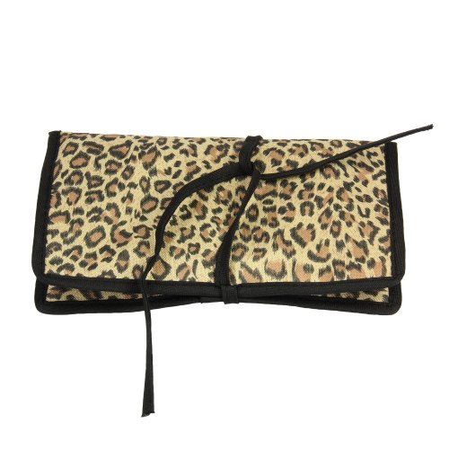 Household Essentials Travel Jewelry Roll, Leopard Print front-579723