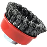 Forney 72757 Wire Cup Brush, Knotted with 5/8-Inch-11 Threaded Arbor, 2-3/4-Inch-by-.012-Inch