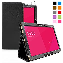 Snugg Galaxy Tab S 10.5 Case - Smart Cover with Flip Stand & Lifetime Guarantee (Black Leather) For Samsung Galaxy Tab S 10.5