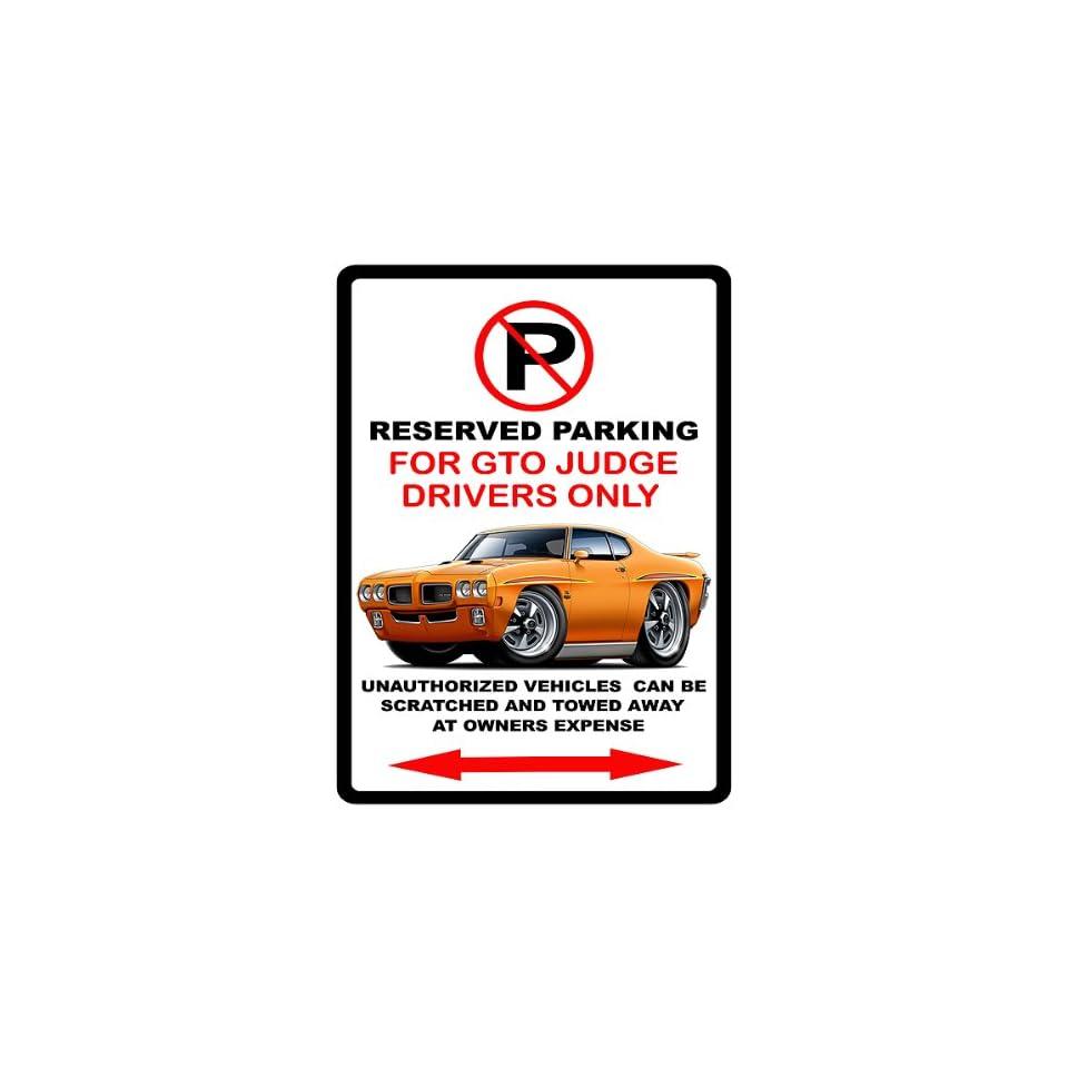 1970 Pontiac GTO Judge Muscle Car toon No Parking Sign