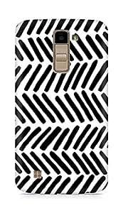 AMEZ designer printed 3d premium high quality back case cover for LG K10 (black white lines short)
