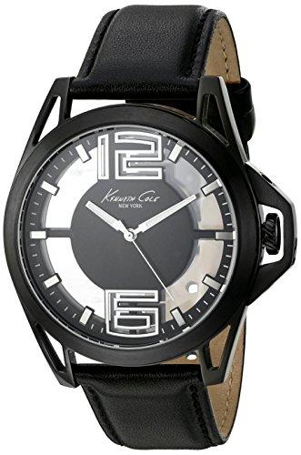 kenneth-cole-new-york-herren-transparenz-quarz-edelstahl-und-schwarz-leder-kleid-uhr-modell-10022526