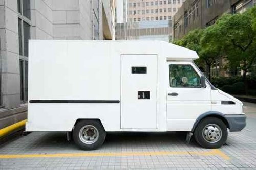 White Armored Car Van Parked Driveway, Downtown Shanghai, China - 60