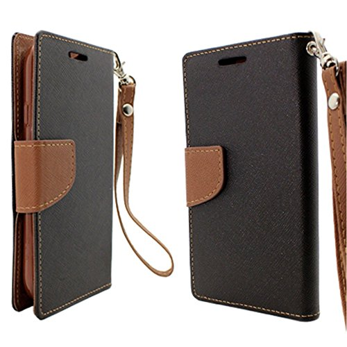 Mylife (Tm) Obsidian Black + Brown {Professional Design} Faux Leather (Card, Cash And Id Holder + Magnetic Closing) Slim Wallet For The All-New Htc One M8 Android Smartphone - Aka, 2Nd Gen Htc One (External Textured Synthetic Leather With Magnetic Clip +