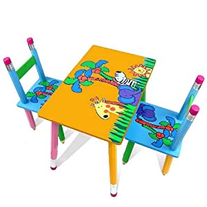 Children Kids Wooden Table and 2 Chairs Set Yellow Safari ...