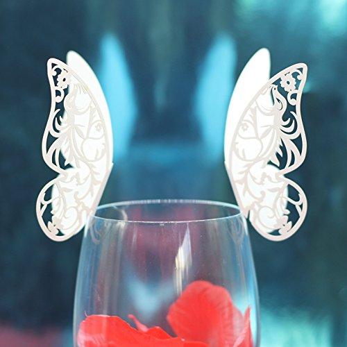 Lot de 50pcs Carte de Verre Marque Place Forme de Papillon Ajouré Décoration pour Table (Blanc Glacée)