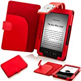 Forefront Cases Leather Case Cover Wallet with LED Reading Light and Stylus for Amazon Kindle 4 - Red