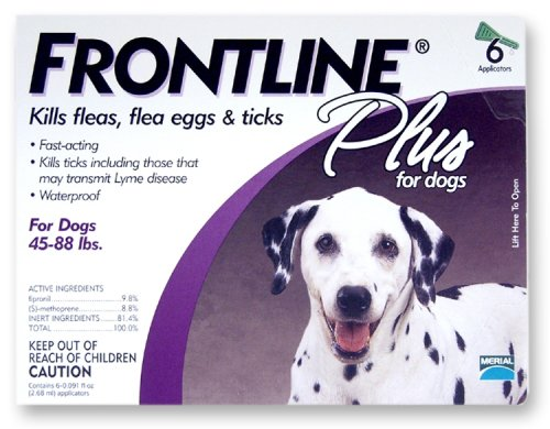 Merial Frontline Plus Flea and Tick Control - 45 to 88 Pound Dogs - 6 Applicators