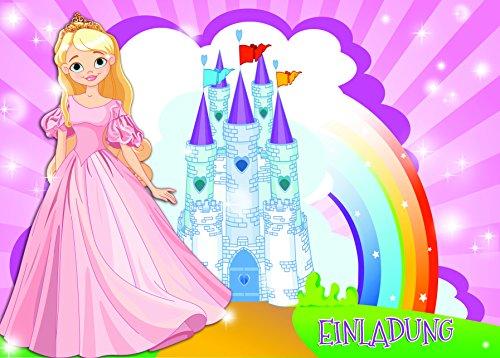 12-er-Kartenset-mit-Prinzessinen-Motiv-Kindergeburtstag-Einladungskarten-fr-die-Geburtstags-Party-fr-Jungen-und-Mdchen