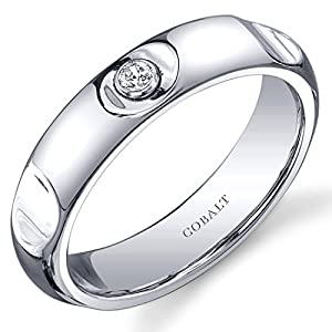 Revoni Solitaire Style 5mm Platinum Finish Notched Mens Cobalt Wedding Band Ring Size V,