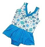 MAMiO 子供 女の子 水着 花柄 フリル ワンピース スイムウェア (120cm, ブルー)