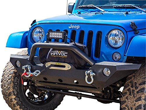 Havoc Offroad 42-10007 Jeep Wrangler Wrecking Ball JK Front Bumper with OE Foglight Cutout (Bumper Jeep Jk compare prices)