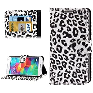White Leopard Pattern Leather Case with Credit Card Slot & Holder for Samsung Galaxy S5 G900