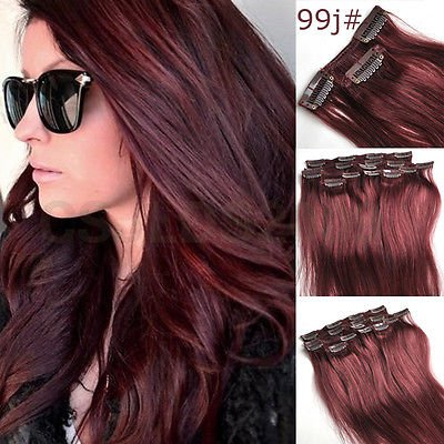 20inch 7pcs Straight Remy Clip in Real Human Hair Extension#99J red wine burgundy