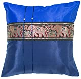 Avarada Striped Elephant Decorative Throw Pillow Cover 16x16 Inch Blue