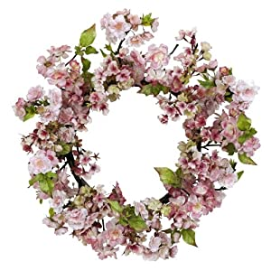 Nearly Natural 4783 Cherry Blossom Wreath, 24-Inch, Pink