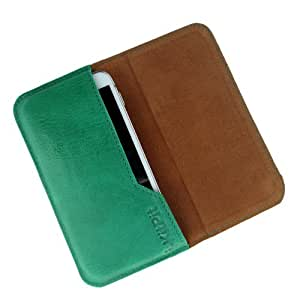 i-KitPit : Genuine Leather Flip Pouch Case Cover For Nokia Asha 500 / 500 Dual sim (GREEN)