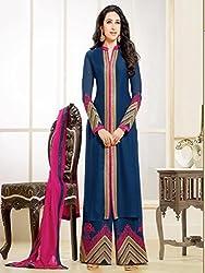 Shree Khodal Women's Blue Georgette Dress Material [SK_JCN1029]