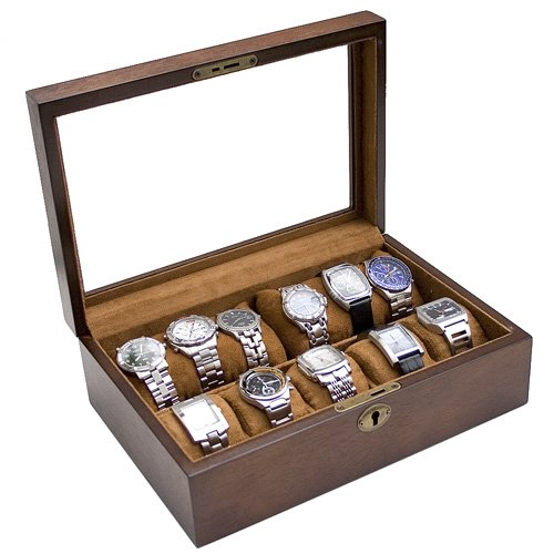 Vintage Wood Watch Box Display Storage Case Chest With Glass Top Holds 10+ Watches With Adjustable Soft Pillows and High Clearance for Larger Watches