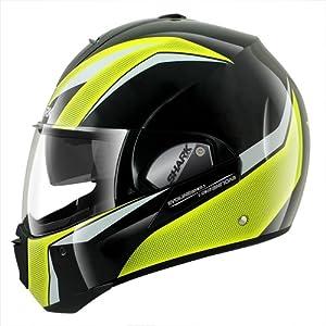 Shark Evoline Series 3 Century High Visibility Helmet (Black/Yellow/White, X-Large)