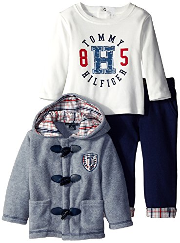 Tommy Hilfiger Baby-Boysant Jacket with Tee and Pants, Gray, 12 Months