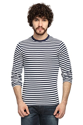 Goodtry Men's Cotton Striped Round Neck Full Sleeve T-shirt- Navy