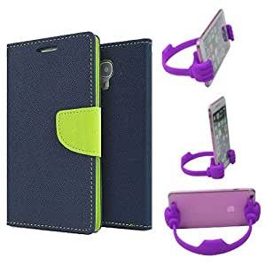 Aart Fancy Diary Card Wallet Flip Case Back Cover For HTC826 - (Blue) + Flexible Portable Mount Cradle Thumb Ok Stand Holder By Aart store