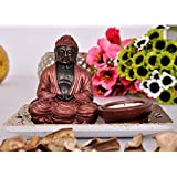 TiedRibbons Buddha Tlight Holder With Tray Set With T-light Candle