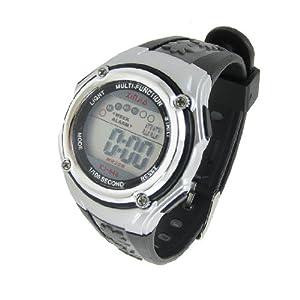 Children Black Adjustable Wristband Round Dial Alarm Stopwatch Sports Watch