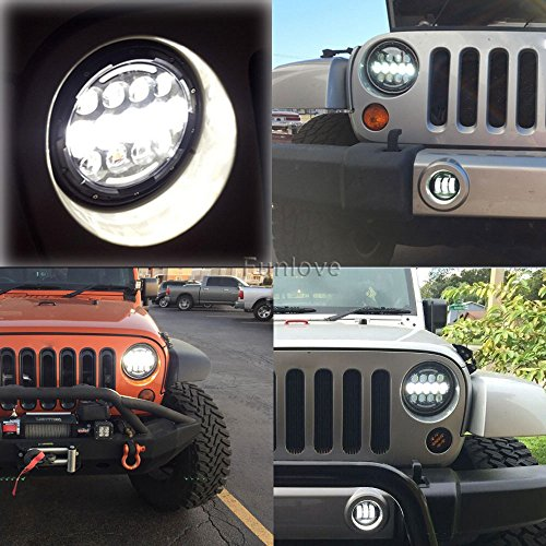"Funlove JK & TJ Jeep Wrangler 7"" Round LED Headlights and Fog Lights"