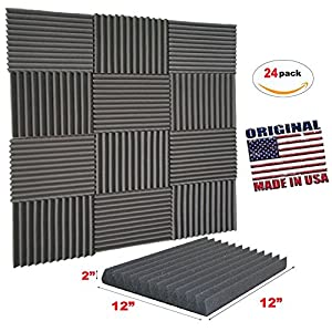 [Mybecca] 24 PACK Acoustic Wedge Soundproofing for Youtube Recording Wall Tiles 12 X 12 X 2 inch, Made in USA