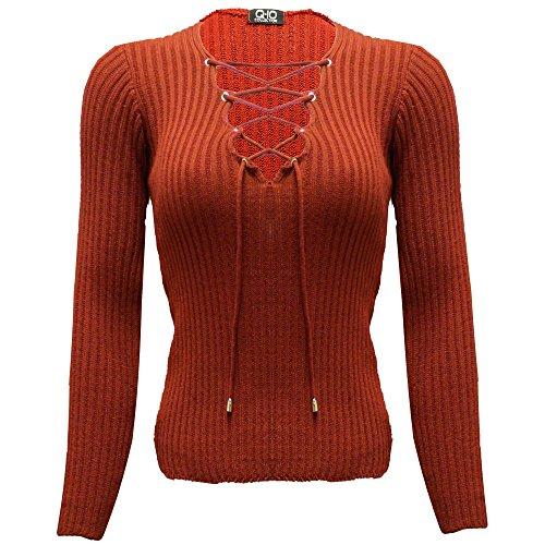 Nuovo da donna manica lunga Lace Up Scollo a V a costine elasticizzato maglione Top Wine - Winter Autumn Casual Plain Corset Neck Top S/M-(40-42)