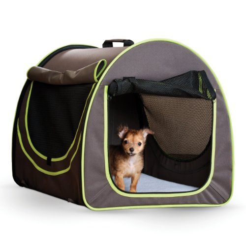 K&H Manufacturing 16 By 19-Inch Classy Go Pet Home, Small, Brown/Lime Green front-916637
