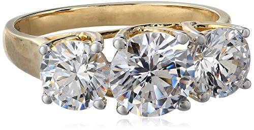 10k Yellow Gold 3-Stone Round Ring Made with Swarovski Zirconia (3 cttw), Size 7