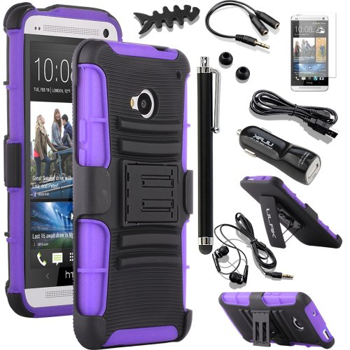 Pandamimi Ulak(Tm) Belt Clip Holster Hard Case Kick-Stand For Htc One M7 With 9 Accessories - Screen Protector/Cleaning Cloth/Application/Headphone/Usb Cable/Car Charger/Touch Stylus/Earphone Splitter Cable (1 In 2 Out)/Fishbone Shape Earphone Cord Winder