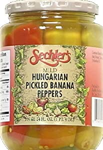 Sechler's mild hungarian pickled banana peppers, 24-oz. glass jar, pack of 6