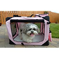 PINK MEDIUM DOG PUPPY CAT KITTEN PET SOFT FABRIC PORTABLE FOLDABLE STRONG CRATE PET CARRIER KENNEL CAGE *BRAND NEW* (Medium)