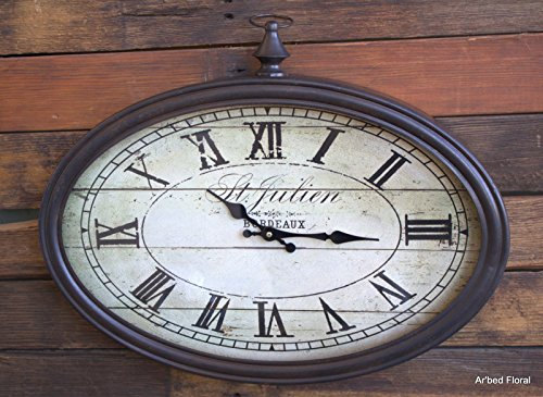 20 French St Julien Oval Wall Clock ~ Glass Faced Metal Trim