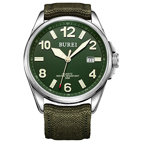 Orologio Militare Unisex BUREI, Quadrante Verde Militare Luminoso con Datario, Ore in Numeri Arabi, Cinturino in Tela