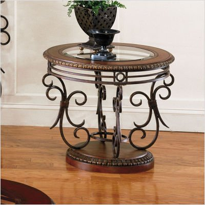 Standard Crescendo Round Glass Top End Table in Brown Leather Finish