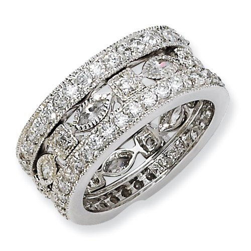 Sterling Silver Cz Eternity Three Ring Set, Size 7