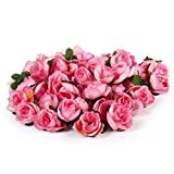 【ノーブランド品】手作り クラフト 手芸用 ローズ バラ 造花 花部分のみ 花びら 花ヘッド 結婚式 3cm 約50個 全4色 (ピンク)