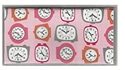 Old Fashion Face Clock Pink Checkbook Cover