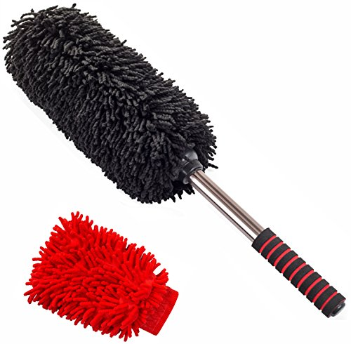 Super Soft Microfiber Car Duster Including Microfiber Wash Mitt | Safe for Any Surface | New Stylish Design | No Residue Like after California Dusters | Car Cleaning Kit by Firebird (Productos Car Wash compare prices)