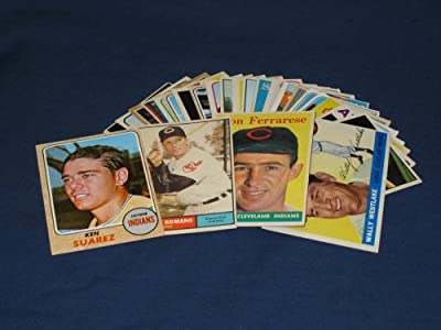 25 Different Vintage Cleveland Indians Topps Baseball Cards from 1955-1969 - Shipped in Protective Display Album!